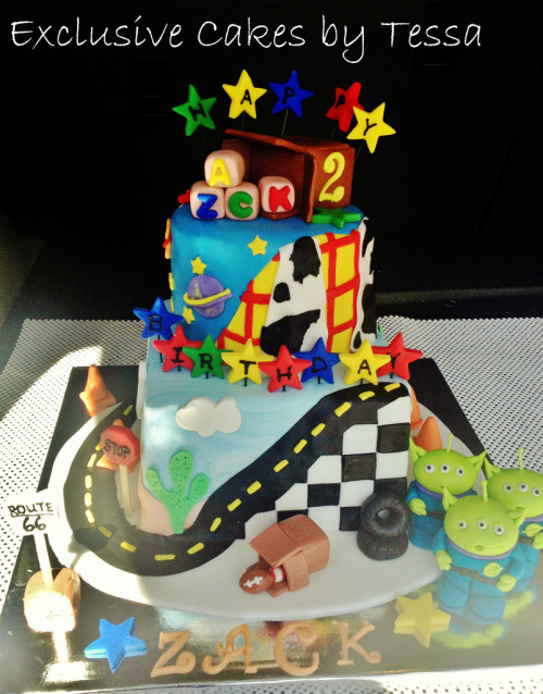 Exclusive cakes toy story and cars cake with logo (by Exclusive Cakes by Tessa)