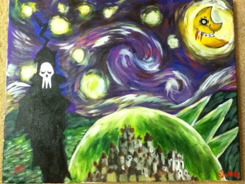 "liliesinmycereal:  My Soul Eater Starry Night Submission for Otakon. 16"" by 20"". Acrylic on Canvas."