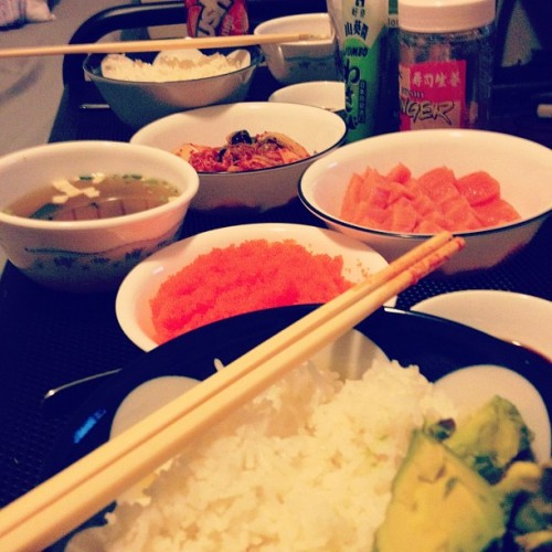 Homemade Japanese/Korean dinner. ^__^ (Taken with Instagram)