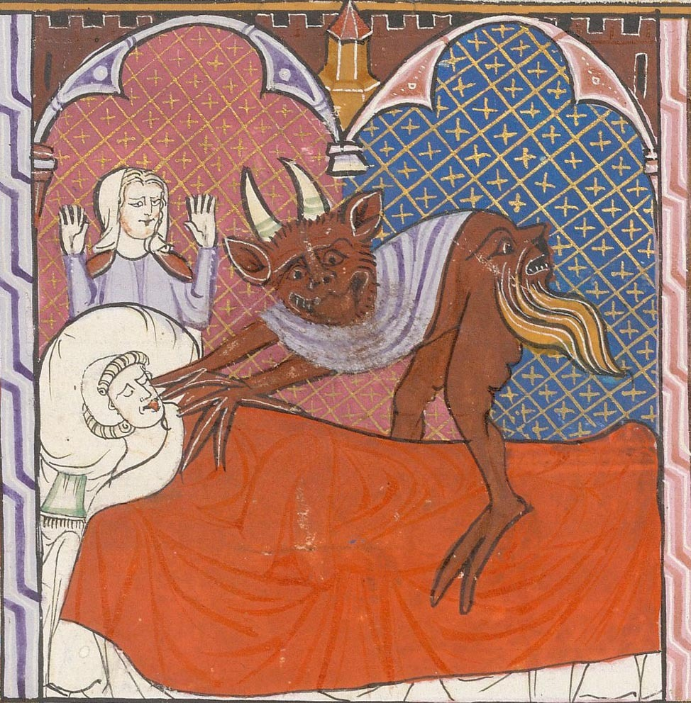 demonagerie:  British Library, Arundel 484, detail of f. 245 (dead man and devil). Justinian, Digestum Vetus with glossa ordinaria. France, S. (Toulouse?); c. 1300 - c. 1310.