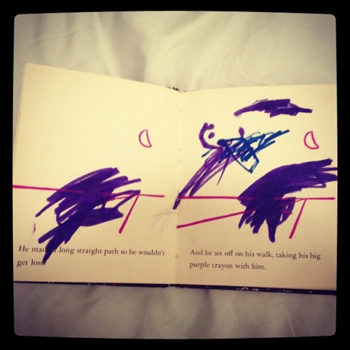 "Here is my copy of ""Harold and the Purple Crayon"" from childhood. (Taken with Instagram)"
