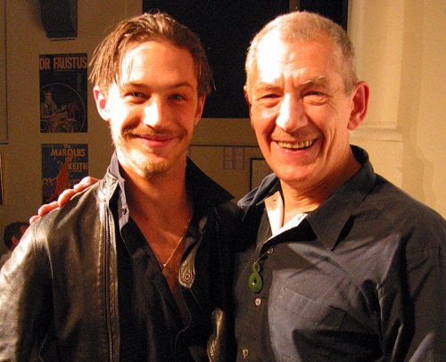bohemea:  Ian McKellen just tweeted this picture of him with Tom Hardy (and his baby beard) in 2003! EEEE! DID KISSING HAPPEN?