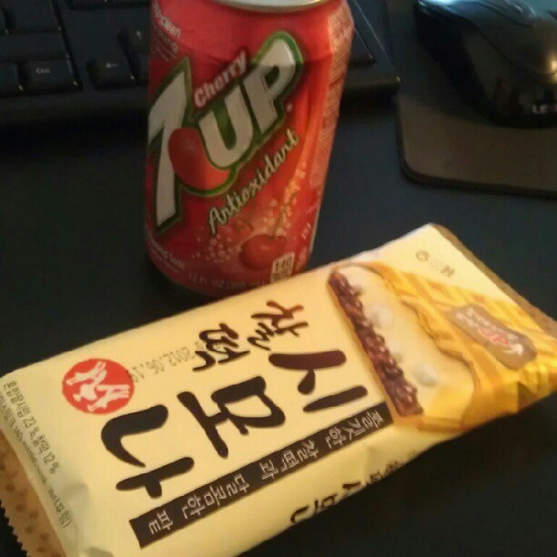 Cherry 7Up and a Korean red bean ice cream sandwich from Kang's. #YumYum #Project365  (Taken with Instagram at SEOP Asia, Inc.)