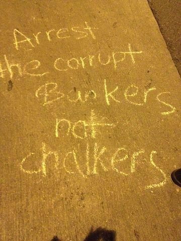 "The right to use chalk as an expression of free speech is currently upheld by the 9th circuit court decision of Mackinney vs. Neilson (1995) that states, ""No chalk would damage a sidewalk."" However, 17 Occupy LA protesters were recently arrested for chalking the sidewalk during an Artwalk in downtown LA.  Some people are outraged at the Occupiers and some people are outraged at the police for an abuse of force.  I have included 2 news articles below that I think give both sides a fair hearing, and unfolding of the events. The devil lies in the details of how these things unfold— and more often than not, the details of how protests emerge and unfold on the ground are often left out of the media most people consume.  The details don't fit in a 30 second sound-byte, they don't make for good headlines.  But the details of police escalation tactics against protesters will have a lasting effect on the future of dissent in this nation.  I hope you're paying attention.  KPCC: ""Occupy LA acks for an investigation into Artwalk arrests"":  http://www.scpr.org/blogs/news/2012/07/17/9020/occupy-police-commission/ Or from the LA Times. ""Chalk draws Occupy L.A., LAPD into conflict over wider struggle"":  http://www.latimes.com/news/local/la-me-banks-chalk-20120717,0,5566039,full.column I like the LA times piece because it addresses the underlying struggle that has emerged across the nation between police and peaceful protesters since most OWS encampments have been cleared.  It's a dynamic that will shape the future of our society, and the future of dissent and peaceful protest in America.  It might not be as sexy and eye catching as large occupy encampments, nor has it been making major headlines.  It seems most people have stopped paying attention.  Many think the Occupy Movement has gone away, or that it is over; which is a common assumption that is made, since the most visible aspects of OWS have been forcibly removed (with many court cases, and legal battles still pending on the legality of the evictions).   However, the movement has not gone away, and there are still many protests across the nation.  May 1st or ""Mayday"" OWS protests drew thousands of protesters in numerous cities across the nation (http://www.huffingtonpost.com/2012/05/01/occupy-wall-street-may-day-new-york-nypd-arrests-photos_n_1469113.html)   Occupy San Diego held a protest against the Trans Pacific Partnership (TPP) on July 7th that drew several hundred, and inevitably several people were arrested under various charges.   While these events no longer seem to glean 'media sex appeal' they occur quite frequently. The dynamic emerging between peaceful protesters and police across the country is quite hostile, and continues to involve the same excessive displays of force against occupiers that were seen in the fall when the encampments were cleared, as the above LA Times article points out.  Remember Mayor Bloomberg's no fly zone, and frozen zone during the clearing of Zucotti Park, and the UC Davis pepper spray incident. I believe constructive, peaceful dissent is one of the most patriotic activities a citizen can engage in.  The ways of expressing such dissent are as multifarious as the citizens this nation contains.  But when the ability to express dissent is continually met with excessive force, it dissuades individuals from expressing their critiques about society.  And without critiques, our society cannot grow or change for the better.   The future of dissent in this nation hinges on the police reaction to these small protests, these scuffles, and the court cases that will inevitably follow.   One's opinions or support for OWS are irrelevant for this discussion.  It matters not if you support this cause.  What matters is how your tax dollars are being spent, and the behavior of law enforcement agencies that receive them.  If OWS protesters can be harassed, suppressed, and met with an overabundance of force, your cause and endeavors in free speech can too. In a nation that bemoans the virtues of free speech, and the first amendment, it concerns me that no one seems to be paying attention anymore."