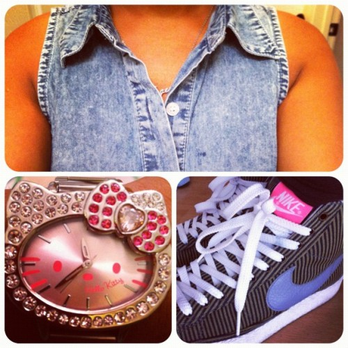 #OOTD: #Denim button up, #HK #watch, #Nike #pinstripe #Blazers (Taken with Instagram at darkNEST)