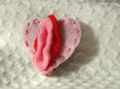 Handmade Felt Vulva Brooch (Nancy Veronica) (purchase from fingersandfelines.bigcartel.com)