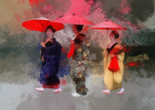 Three Little Maiko  by kansaikate on Flickr.
