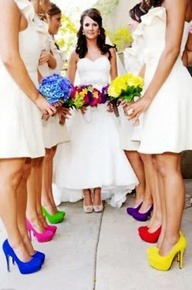 Wedding with neon heels