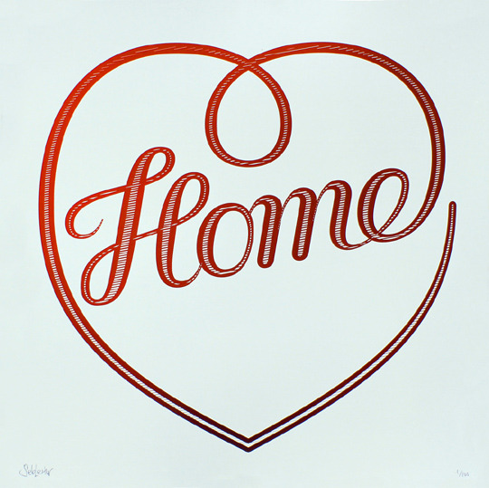 artrepublic:  Brand new prints from the amazing Seb Lester. Home - White ink on Ruby Red Peregrina Classic (Silkscreen Signed Limited Edition of 100) by Seb Lester So Much To Do - Metallic Gold ink on Midnight Blue Plike (Silkscreen Signed Limited Edition of 100) by Seb Lester