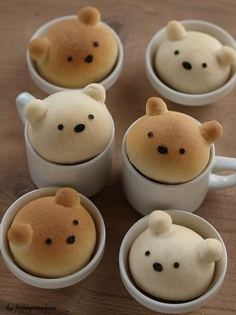 yummaystuff  cute teddy bear bread cups.