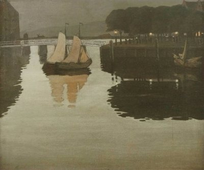 blastedheath:  Johan Rohde (Danish, 1856-1935), Quiet Evening in the Harbour at Hoorn, 1893. Oil on canvas. Hirschsprung Collection, Copenhagen.