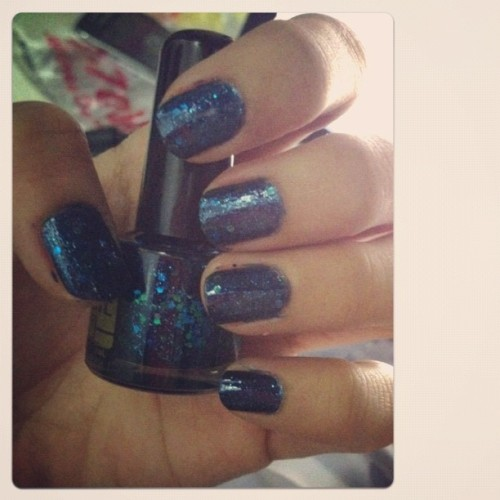 Party, sparkly blue nails! Huzzah! #fashion #nails #nailpolish #cute #blue #glitter  (Taken with Instagram)
