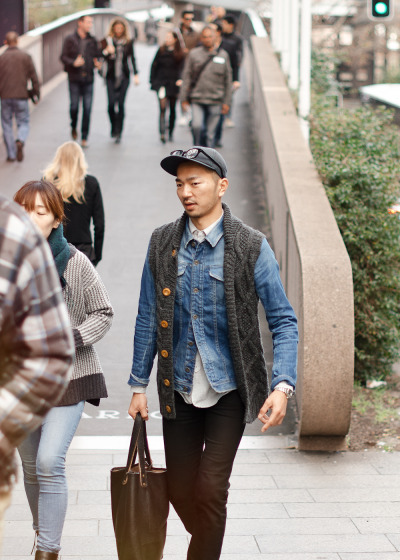 meninthistown:  Denim and knits. Similar look: Nonnative Men's Roamer Knit Vest Cardigan.