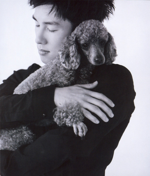 kimdongwan:  Vogue Magazine (August 2008) - 'Fashion Pet'  His name? Koguma. (Korean word for 'sweet potato') His breed? Toy poodle. How long have you been together? 4 years. (Since this was in 2008, it'll be 8 years now.) He is what kind of guy? He's a guy who hides in the bathroom when lightning strikes, doesn't drink a drop of water when he's alone, is easily frightened, and is sensitive by nature. How has he changed you?  When I lost my first children, two Yorkshire terriers, and had fallen into loneliness, he saved me.  What's great about being with him? The fact that it's a comfort that he's simply by my side!  Credits: Name (scans) + Kim Dongwan Tumblr (eng trans)  Ugh Dongwan… so sneaky… you know I can't resist men who love dogs. hmph.
