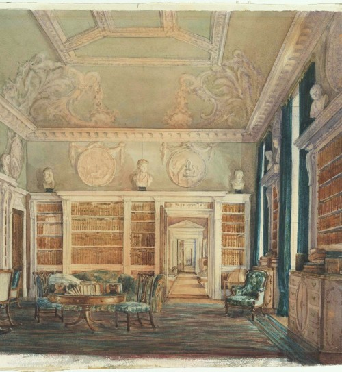 a-l-ancien-regime:  View of the Library, Kirtlington Park (The Metropolitan Museum of Art) Kirtlington Park, in Oxfordshire, was widely regarded as one of the most beautiful Rococo rooms in England. Sir James Dashwood (1715–1779), baronet, devoted much of his energy and fortune to the building and furnishing of Kirtlington Park.  Sir James's thrice great-granddaughter Susan Alice Dashwood (British, active 1876–1900)  painted in 1876 and 1891  watercolor views of the room with its original furnishings.