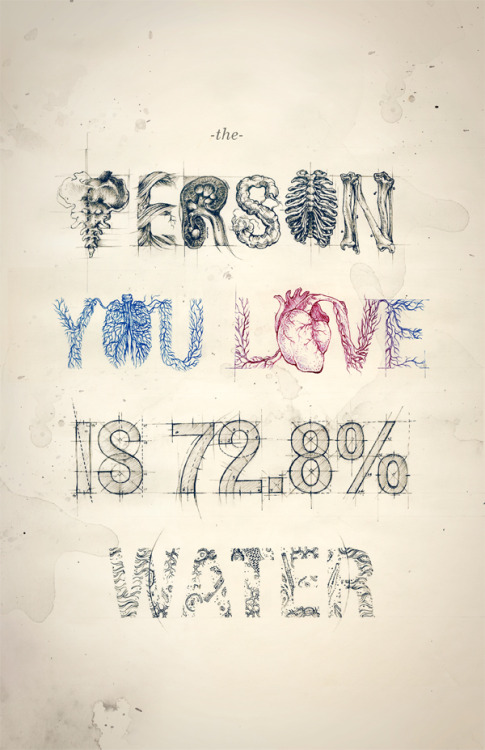 type-lovers:  The Person You Love Is 72.8% Water Designed by Teagan White.