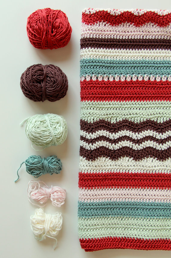 Don't you just love this sweet little pattern for a baby afghan?  To make one for your very own, check out creJJtion's Etsy Store … it's lovely.