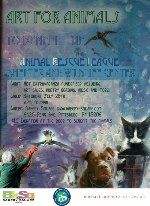 The Animal Rescue League Shelter & Wildlife Center's ART FOR ANIMALS is coming to BkSq on Saturday, July 28th from 6-10p. Click HERE for more info.
