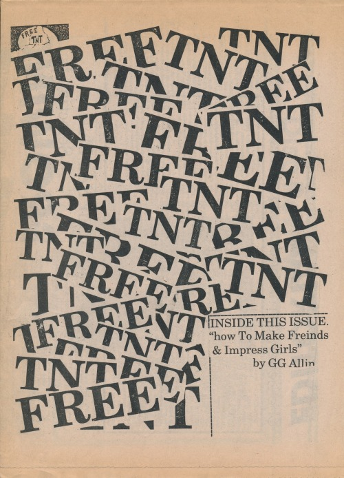 FREE TNT, (no issue number) 1987. Published by Paul Decolator, Philadelphia, PA. I am gradually creating an inventory of my entire 'zine collection which mostly focuses primarily on underground music and culture from the 1980s and 1990s. This will eventually be a list with image links for each issue. In the meantime you can see lots more 'zine covers here.