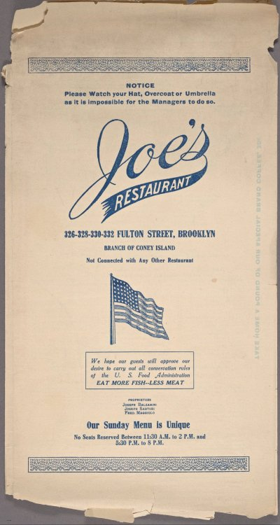 Joe's Restaurant in Brooklyn — just one of the newly digitized menus in the Library's collection that you can help transcribe. Have you checked out What's on the Menu yet?