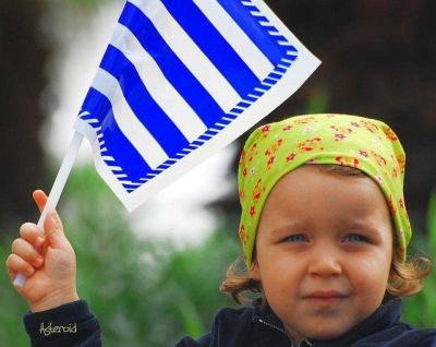 little greek patriot :) what an adorable little girl