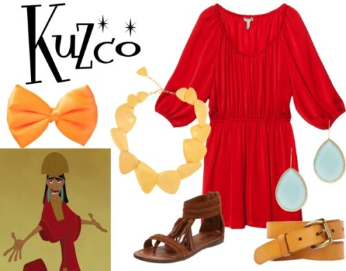 "Kuzco from ""The Emperor's New Groove"" Joie long dress / Minnetonka  sandals / Hervé Van Der Straeten 24 karat gold jewelry, $1,490 / BY SOPHIE pear earrings / GAP belt"