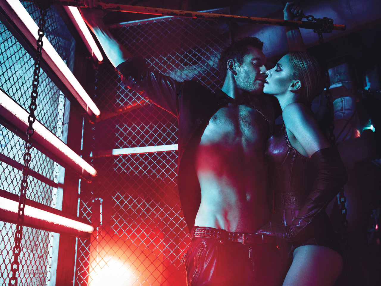 Photo by Mario Sorrenti Ok, all together now: It's gettin hot in here, so take off all your clothes… Charlize and Michael get steamy.