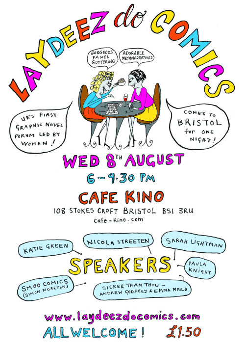 I'll be speaking at this event on Wednesday 8th August at Cafe Kino with many of my comics pals! Do come along. More info here.