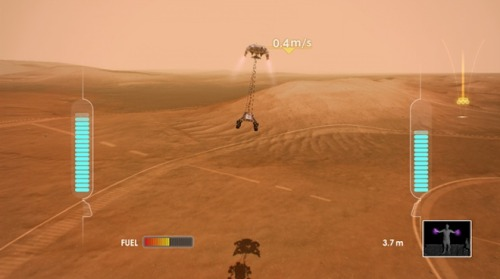smarterplanet:  Kinect Game Lets You Land NASA's New Rover on Mars | Wired Science | Wired.com A new free Xbox game gives anyone the chance to steer through seven minutes of terror and attempt to safely land NASA's newest rover, the Mars Science Laboratory. MSL, which is scheduled to touch down on the Red Planet the night of Aug. 5, is a car-sized nuclear-powered roverdesigned to search for signs of life on Mars, past or present. It is the largest robot that engineers can currently landon the Martian surface and its descent from space includes a complex list of events that have to happen perfectly to ensure success. After entering the top of the Martian atmosphere, MSL will use its heat shield to slow down to slightly above Mach 2. It will then deploy the largest supersonic parachute ever used on an interplanetary mission to get to landing speed. Once the parachute is jettisoned, the spacecraft will fire up rockets and slow down even further. A UFO-like platform will gingerly lower the rover down on wires until, about 25 feet above the surface of Mars, MSL will be placed on the ground, hopefully ready to roll. Once it has brought its quarry to the ground, the platform will fly off and crash far from the rover to prevent any damage.