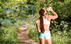 sweatsalty:  Water Weight  What is water weight? Water weight is fluid retention. It is when your body holds on to  the water in your body. This can cause you to get bloated, and see a higher number on the scale.  Why does this happen? This can happen for many reasons. Increased sodium intake, too many processed foods, not getting enough protein, not drinking enough water.  Not drinking enough water? The more water you drink the less water your body will retain. This is because when you drink a lot of water your body signals the organs that it is okay to let go of some of the water. How to get rid of water weight? By drinking more water, cutting out processed and high sodium foods, sweating, cutting carbs.  Cutting carbs- although cutting carbs can help you lose water weight this will not help you lose fat. This is also not healthy. Many fad diets promise large amounts of weight loss in a small amount of time by drastically cutting carbs, however this weight will be gained back very quickly because it is not actually fat loss. This has to do with glycogen, and you can learn more about this here and here. Water weight and fat are very different. This is why you should not freak out if you see a higher number on the scale. Fat is burned by being active and operating at a calorie deficit.  So in conclusion if you see a high number of gain or loss on the scale in a rapid amount of time it is most likely water weight. I highly recommend that you watch this video. *** Remember that 2 liters of water is going to weigh 2 kg (4.4lbs). If you drink all the water you're supposed to, your weight WILL fluctuate throughout the day *** This is another reason not to think about the scale!