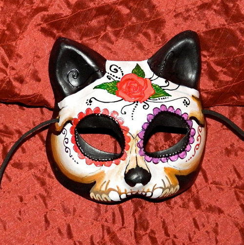 Day of the Dead Kitty Cat Mask Rose Dia de Los by Masquefaire on We Heart It. http://weheartit.com/entry/32686473