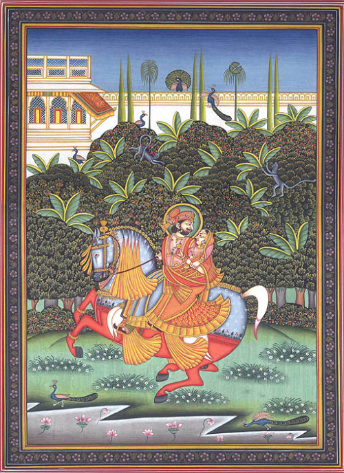 Maharaja Man Singh Romancing with His Consort on a Galloping Horse