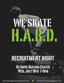 It's that time of the month again. Recruitment night! Come throw on some gear and find out that you do have what it takes to be a rollergirl, NSO or ref. See you at the Olympic from 7-9 pm.