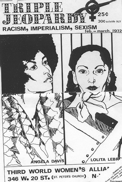 pink-slip:  Angela Davis and Lolita Lebrón by an unknown artist Archival image from the Triple Jeopardy newspaper, 1972