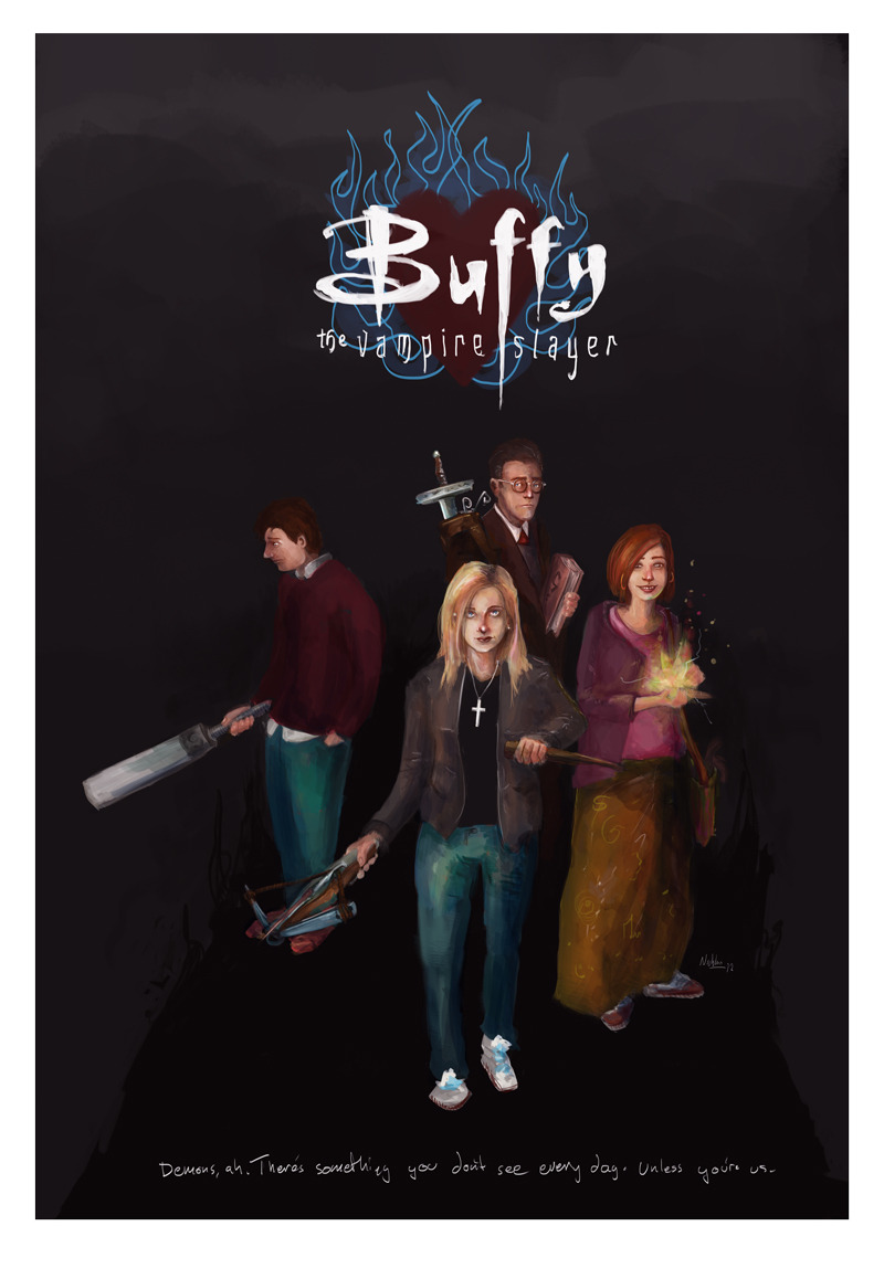 Buffy the vampire slayer and friends, have it as a print in small or poster size!  (Also: feel free to answer the prints poll.)
