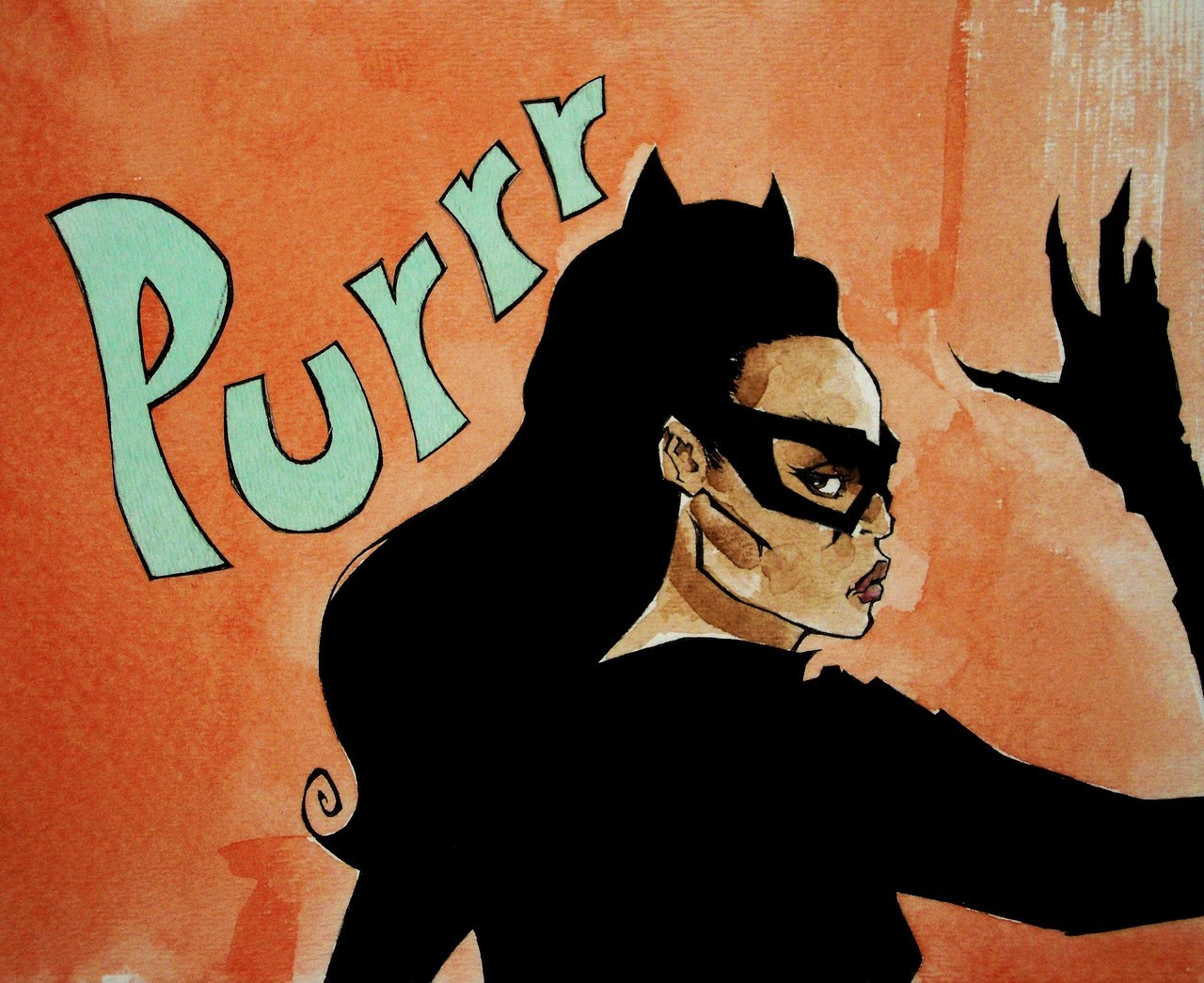 "Day 3 of ""The Dark Knight Rises"" Catwoman countdown: Eartha Kitt. ""Purrr-fect"", This Catwoman was made famous for her purr! Eartha Kitt took over the role of Catwoman in the ""Batman"" TV series from 1967-68. She was only in 5 episodes but she has gone down in Batman history as one of the best! Eartha Kitt as Catwoman, illustrated by Christian Cimoroni, pen and ink/watercolor"