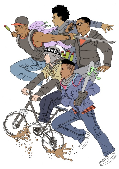 I finished my Attack the Block piece. Spreading the love for this movie, it's brilliant. It's also available to buy on RedBubble as a t shirt: http://www.redbubble.com/people/popcornillus/works/9124862-attack-the-block