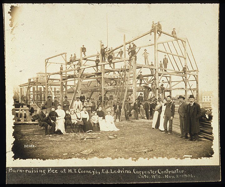 Barn raising at M. T. Cooney's, Cato, Wisconsin, 1906. Photo by Hermann C. Benke of Manitowoc.  via: Manitowoc Public Library by way of University of Wisconsin Digital Collections