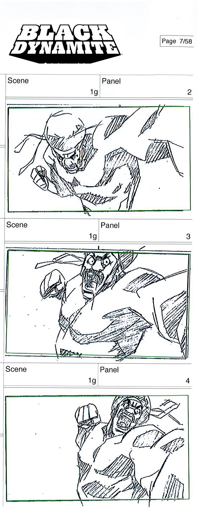 Black Dynamite storyboard sketch of him punching some jive turkey.