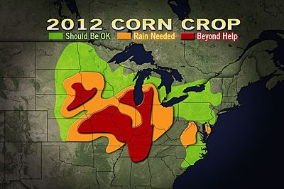 Corn Disaster: Rain Coming, But Not Enough  Additional corn crop failures are likely, due to too little rain and too much heat through the middle of August.