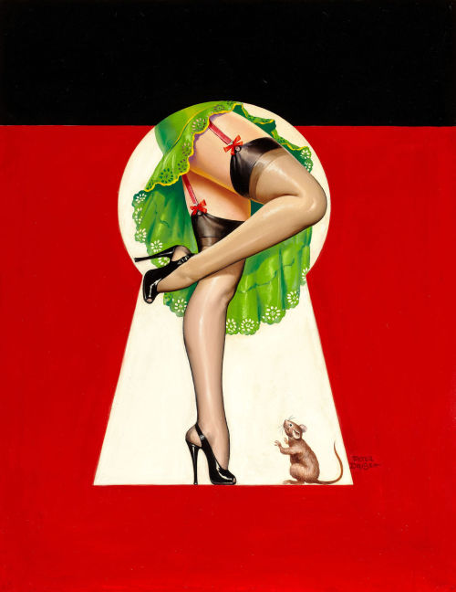 """Through the Keyhole"" by Peter Driben c. 1950's"