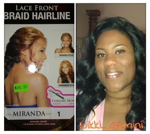 "LACEFRONT WIG I tried this little girl out this past weekend. I really like her!! I didn't do the braid as you can see, but I'm sure I will. I really hate that they call these ""lace""fronts because if you own a real one (and I do), you'll see the difference. Anyway, the is about a 1/2 inch of parting space, other than that the hair falls very well and it's just beautiful. Her name is Miranda and I thinks she's by Outre. Forgive me if I wrong.  Thanks for looking!"