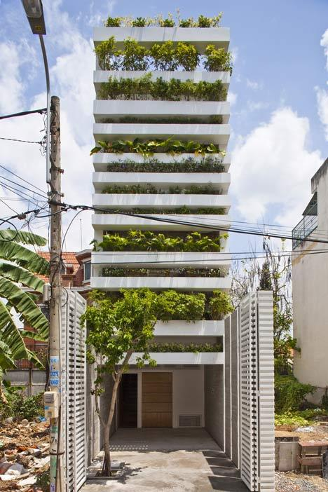 Stacking Green house covered in plants by Vo Trong Nghia - Dezeen