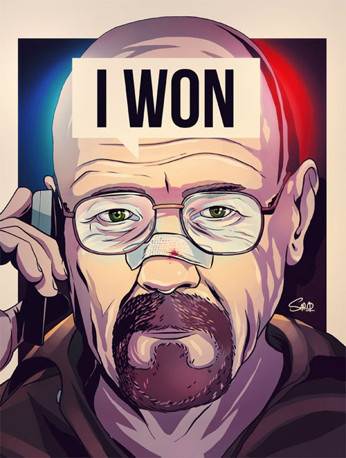 heisenbergchronicles:  Walter White by Santiago Sarquis  More from this artist: Blog, threadless, deviantART, Facebook