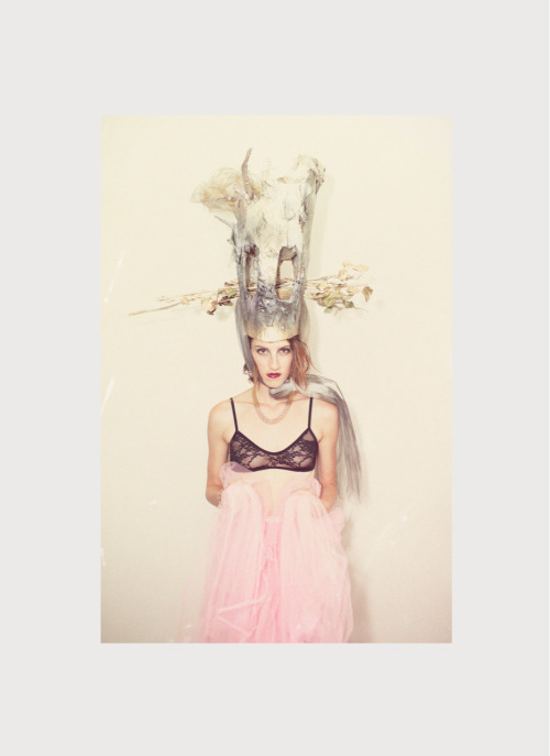 bra by American Apparel.vintage skirt by Blue Plate.headpiece & make-up by Aron Son. photo by Jen Senn.