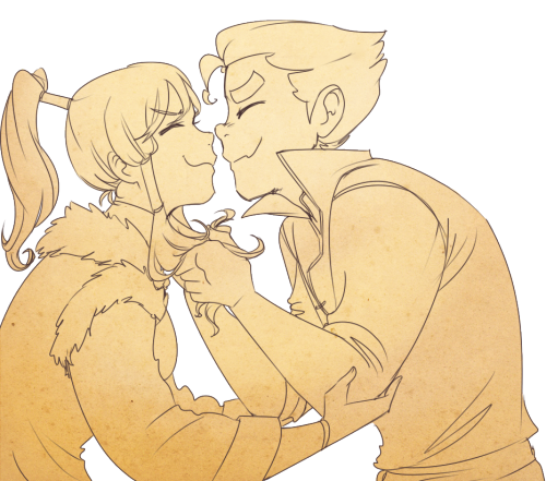 """Super cute eskimo kisses!"" ""Gross, quit it!"""