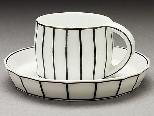 """Black and White Mocha Cup and Saucer"" by Josef Hoffmann (1870-1956)."