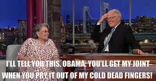 comedycentral:  Roseanne Barr was on Letterman last night to talk about medical marijuana and her upcoming Comedy Central Roast, which premieres Sunday, August 12 at 10/9c. Click the image to watch a clip from the interview.