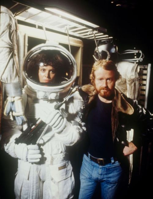 Sigourney Weaver and Ridley Scott on the set of Alien (1979)