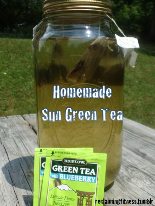 Take advantage of the summer sun and make your own sun green tea.  So many flavors to choose from and can drink unsweetened or add agave or honey. How to Make a Gallon of Green Sun TeaRead more: How to Make a Gallon of Green Sun Tea | eHow.com http://www.ehow.com/how_4868598_make-gallon-green-sun-tea.html#ixzz210mfB0KP